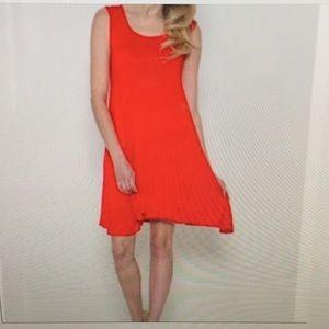 Red Trapeze Swing Dress